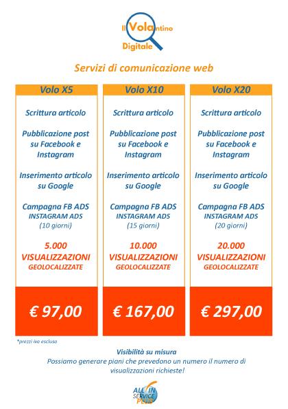 Volantino Digitale Pacchetti comunicazione web